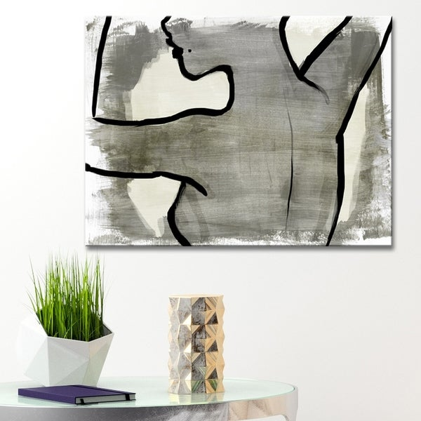 Ready2HangArt 'Nude Scribe I' Wrapped Canvas Art - Grey 33990946