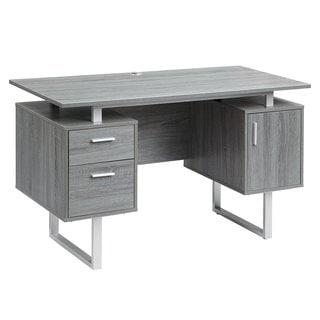 Urban Designs Deluxe Stylish Modern Grey Computer Desk with Storage
