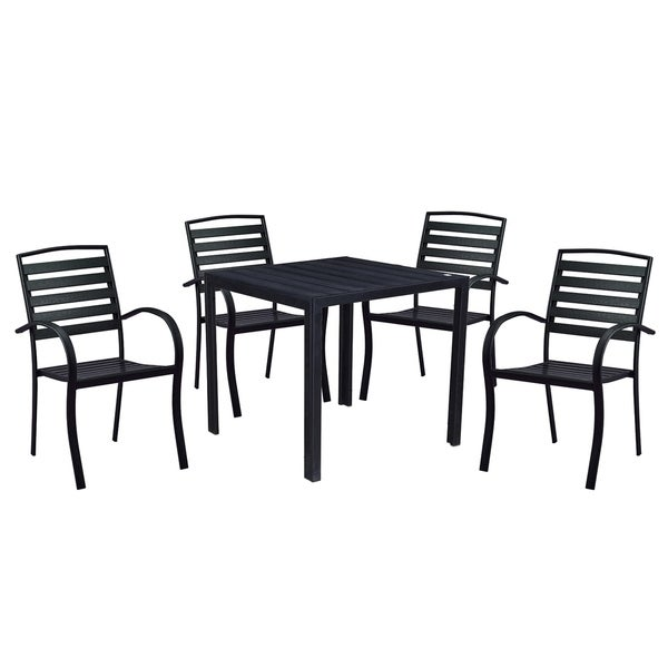 Indoor and Outdoor Square 32 Inch Black Dining Table with Four Chairs 33997189