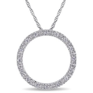Haylee Jewels 10k White Gold 1/10ct TDW Diamond Circle Necklace (I-J, I2-I3)