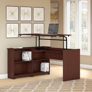 Copper Grove Daintree 52-inch 3-position Sit-to-Stand Corner Bookshelf Desk in Harvest Cherry