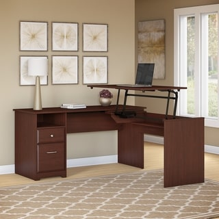 Copper Grove Daintree 60W 3-position L-shaped Sit to Stand Desk in Harvest Cherry