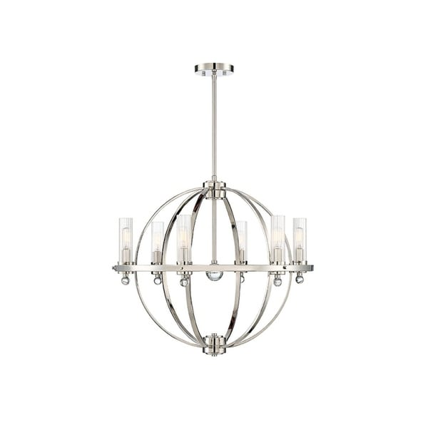 Belfast Polished Nickel and Clear Ribbed Glass Chandelier 34026126