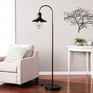 Pinslo Matte Black Caged Bell Floor Lamp