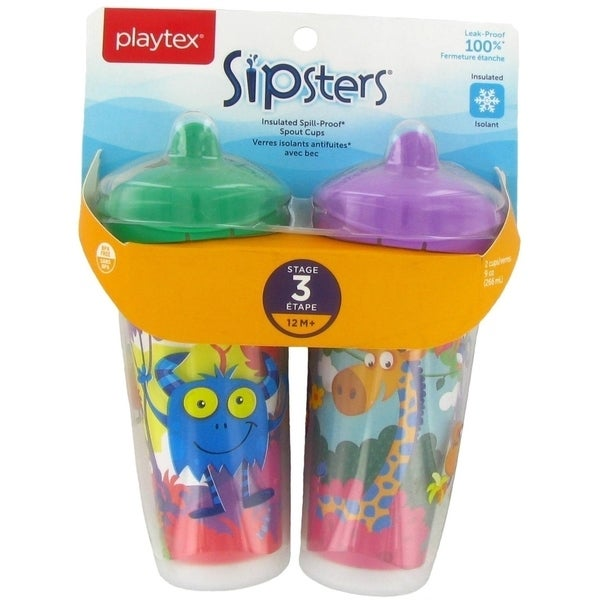 Playtex Playtime Insulated Spill Proof Spout Cups - 2 Pack - Monster/Jungle - Green 34030367