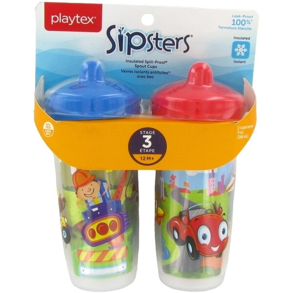 Playtex Playtime Insulated Spill Proof Spout Cups - 2 Pack - Contruction/City - Blue 34030370
