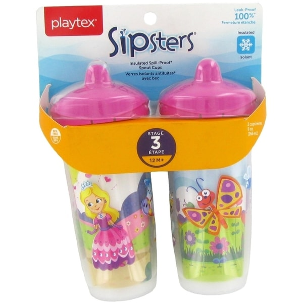 Playtex Playtime Insulated Spill Proof Spout Cups - 2 Pack - Princess/Butterfly - Pink 34030377