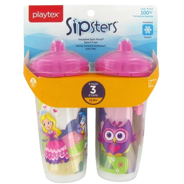 Playtex Playtime Insulated Spill Proof Spout Cups - 2 Pack - Princess/Owl - Pink 34030387