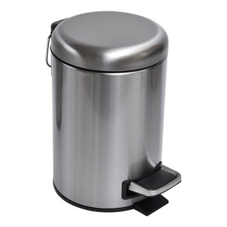 Evideco Soft Close Small Round Metal Bathroom Floor Step Trash Can Waste Bin 3-liters/0.8-gal Steel - 0.8 gal
