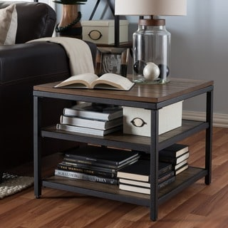 Carbon Loft Cohn Rustic Industrial Wood and Metal End Table