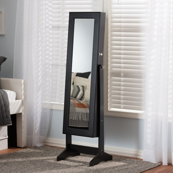 Carbon Loft Alderson Black Freestanding Mirror Jewelry Armoire 19265935