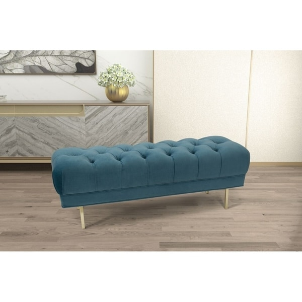 HomePop Downing Large Velvet Decorative Bench with Button Tufting - Light Blue 34094861