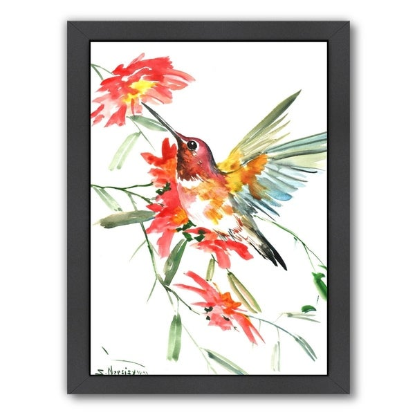 Hummingbird With Red Flowers 34119282