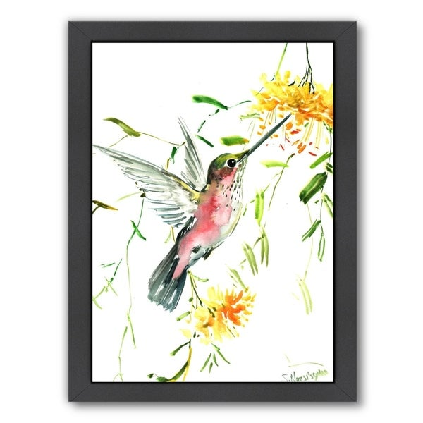 Hummingbird With Yellow Flowers 34119345