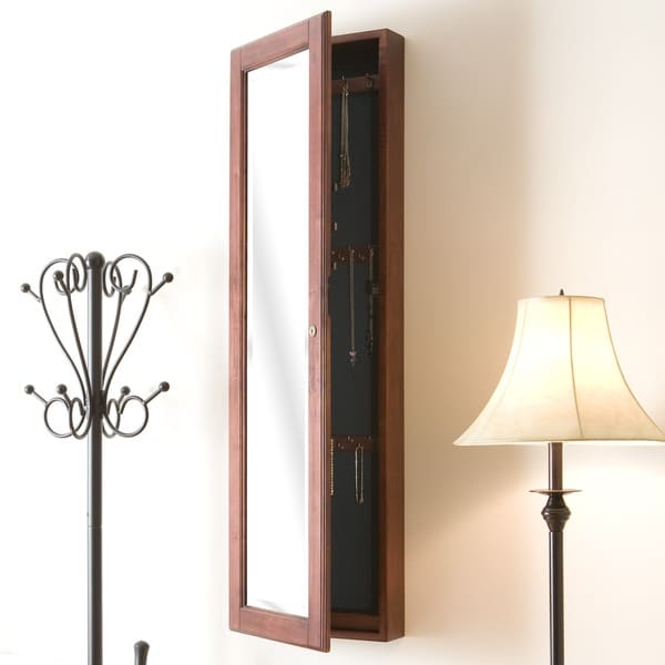 Wall-mount Burgundy Cherry Jewelry Mirror