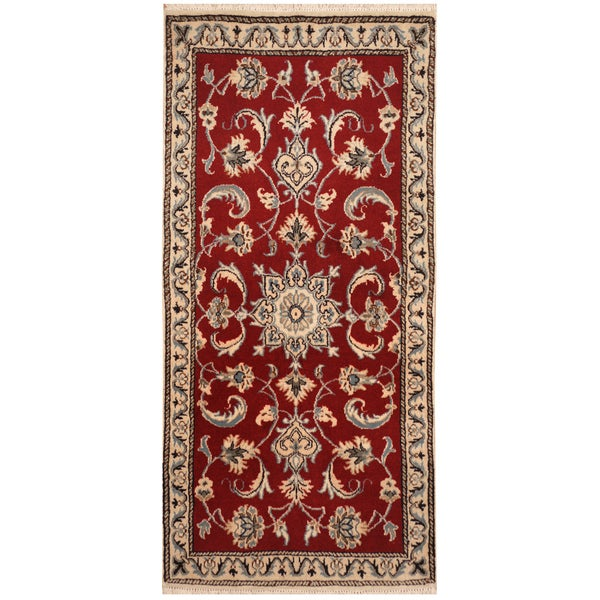 Handmade Herat Oriental Persian Hand-knotted Nain Wool & Silk Rug (2'3 x 4'7) - 2'3 x 4'7 34125781