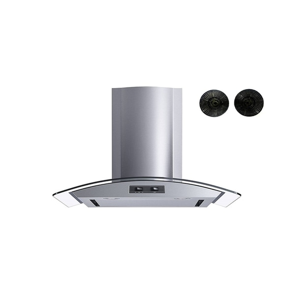 """Winflo O-W101C30SRF 30"""" Convertible Stainless Steel/Glass Wall Mount Range Hood with Carbon Filters 34127774"""