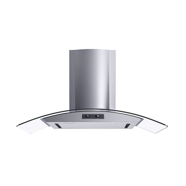 "Winflo O-W101C36SR 36"" 400 CFM Convertible Stainless Steel/Glass Wall Mount Range Hood 34127791"