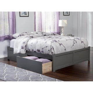 Concord King Platform Bed with Flat Panel Foot Board and 2 Urban Bed Drawers in Atlantic Grey