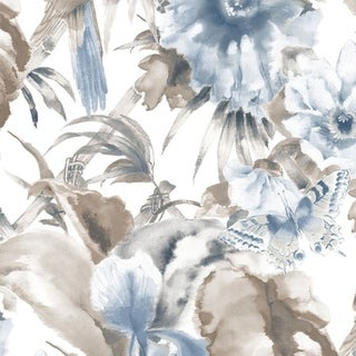 Manhattan Comfort Hazleton 32.7 Ft. x 20.5 In. Vinyl Blue Birds of Paradise Wallpaper Wallpaper Covering