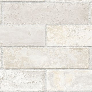 Manhattan Comfort Orland 32.7 Ft. x 20.5 In. Vinyl Off White Brick Texture Wallpaper Covering - 32.7 Ft. x 20.5 In.