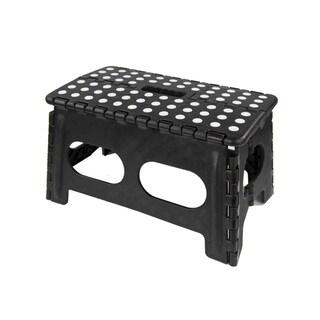 Home Basics Black Non-slip Grip Dots/Carrying Handle Folding Stool