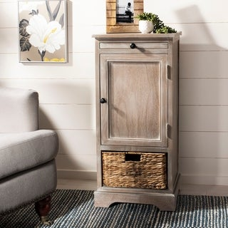 "Spenser Vintage White/ Grey Tall Farmhouse Storage Unit - 15.7"" x 13"" x 34.3"""