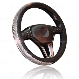 Zone Tech Shiny Bling Steering Wheel Cover - Premium Quality Crystal Steering Wheel Cover with PU Leather Backing