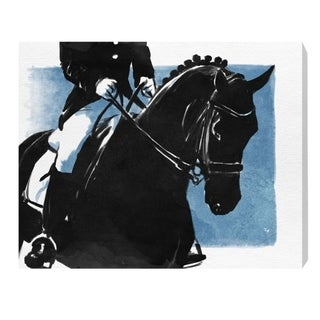 Oliver Gal 'Horse and Rider II' Animals Wall Art Canvas Print - Black, Blue