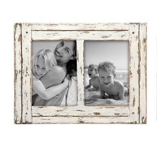 Foreside Home & Garden White 5 x 7 inch Decorative Distressed Wood Picture Frame - Holds Two 5x7 Photos