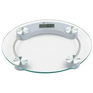 Home Basics Clear and Chrome Glass Round Bathroom Digital Scale