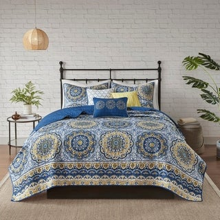 Madison Park Moraga Blue Boho Coverlet Set