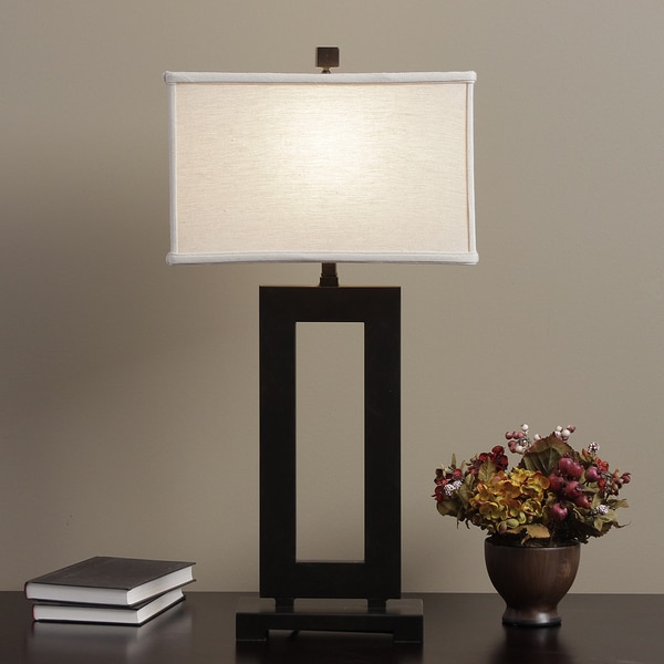 Mocha Metal Table Lamp with Cream Shade
