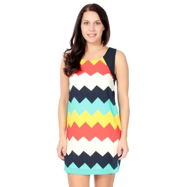 Women's Casual Rainbow Skirt Sleeveless Mini Dress, M