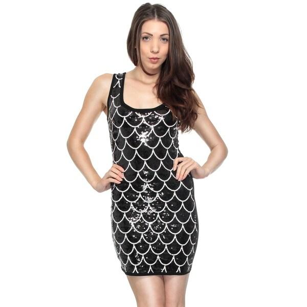 Women's Fish Scale Pleated Tank Dress Scoop Collar Sundress, BKWT,M 34241553