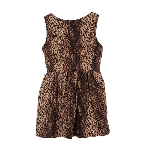 Simplicty Retrochic Mini Dress w/Flared and Pleated Skirt, Leopard, M 34243726
