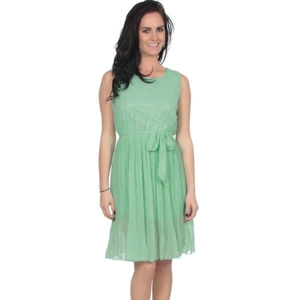 dainty chiffon sundress w/ pleated skirt and matching sash 34243735