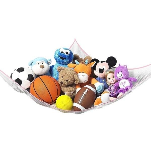 Toy Storage Hammock - XL Hanging Net, Playroom Storage for Plush Toys, Stuffed Animals - De-cluttering Solution Organizer - Pink 34247796