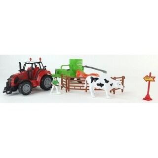 Farmer Toys Farm Park Friction Powered Red Farm Tractor Trailer Playset 34249404