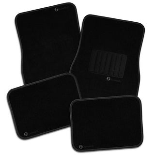 Zone Tech All Weather Carpet Vehicle Floor Mats- 4-Piece Black Plus Vinyl Heel Pad for Additional Protection