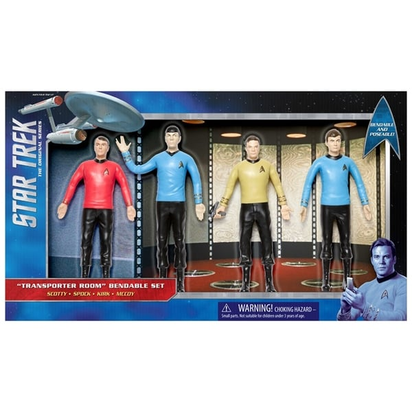 "NJ Croce Star Trek TOS: Transporter Room 6"" Action Figure Boxed Set - Scotty, Spock, Kirk, McCoy 34270268"