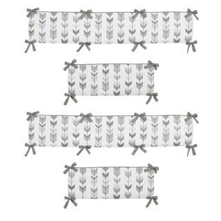 Sweet Jojo Designs Grey and White Mod Arrow Collection Baby Crib Bumper Pad