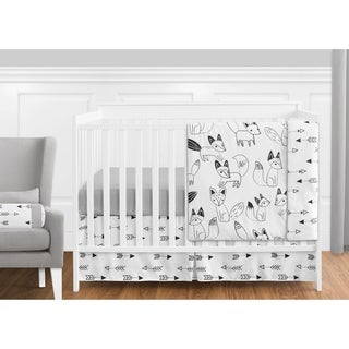 Sweet Jojo Designs Black and White Fox Collection 11-piece Bumperless Crib Bedding Set