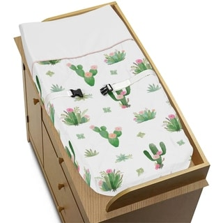 Sweet Jojo Designs Pink and Green Boho Watercolor Cactus Floral Collection Changing Pad Cover - White