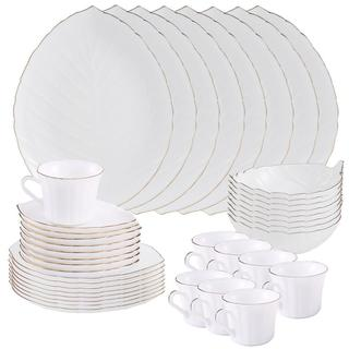 Matashi MTD13207 Vine Collection Opal 40-Piece Glassware Dinnerware Set- Service for 8 (Choose Gold Rimmed or No Rim)