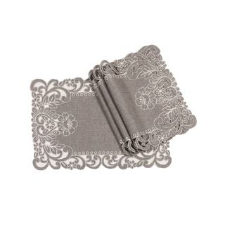 Claire Floral Embroidered Cutwork Placemats, 14 by 20-Inch, Set of 4, Grey