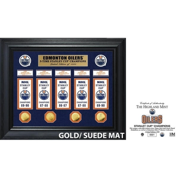 Edmonton Oilers 5-Time Stanley Cup Champions Deluxe Gold Coin & Banner Collection 34296212