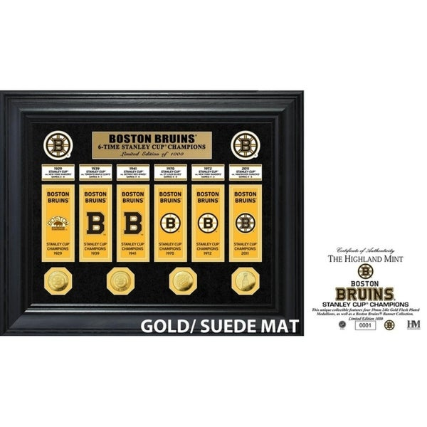 Boston Bruins 6-Time Stanley Cup Champions Deluxe Gold Coin & Banner Collection 34296265