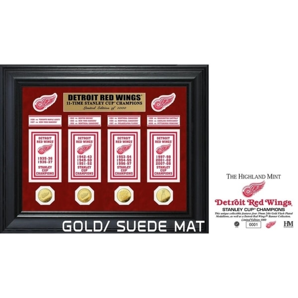 Detroit Red Wings 11-Time Stanley Cup Champions Deluxe Gold Coin & Banner Collection 34296268