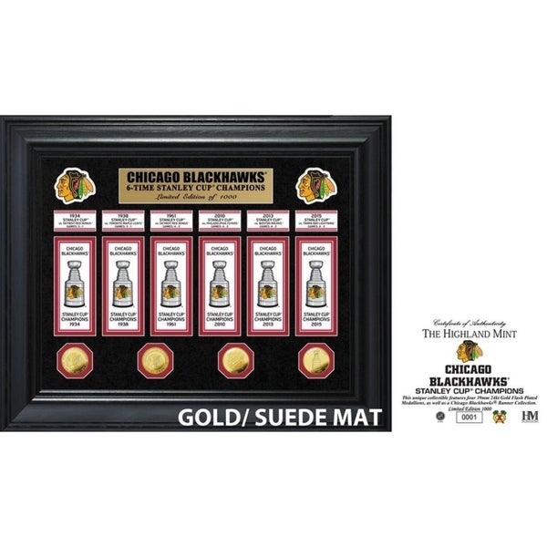 Chicago Blackhawks 6-Time Stanley Cup Champions Deluxe Gold Coin & Banner Collection 34296269